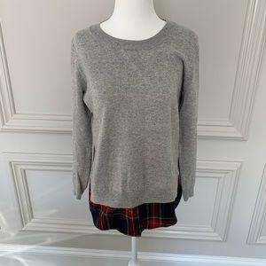 Goodnight Macaroon Gray Sweatshirt Plaid hem Sz Sm
